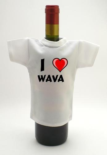 Wine Bottle T-Shirt with I Love Wava (first name/surname/nickname) smad 28 bottle wine chiller cellar bar