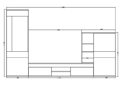 wohnwand wohnzimmerschrank anbauwand tv element cannes in eiche sonoma made in germany. Black Bedroom Furniture Sets. Home Design Ideas