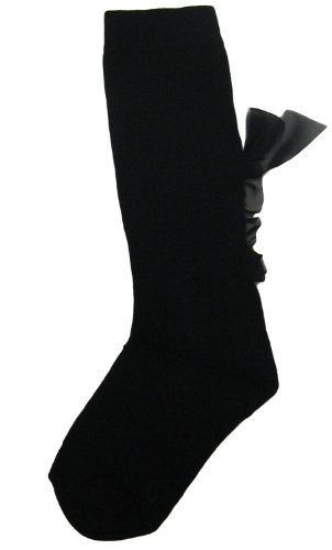 JRP Girls Chiffon Vertical Bow Knee Sock