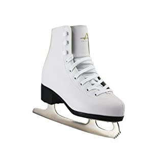American Athletic Shoe Girl's Tricot Lined Ice Skates, White, 4