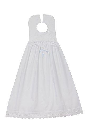 Taufaufleger bestickt Baumwolle, Schriftfarbe hellblau. Festliche Taufkleidung für Jungen und Mädchen