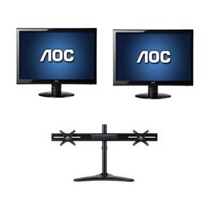"Aoc 22"" Wide 1080P Led Monitor, Vga, Dvi Bundle"