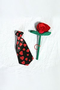 "Red Rose and Heart Tie (Valentines) for large Teddy Bears or 14"" - 22"" make your own animal"