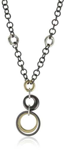 Anne Klein Mixed Metal Gold-tone and Hematite Plated Frontal Necklace