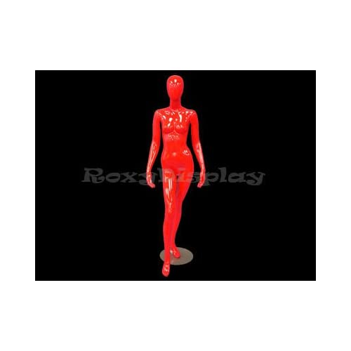 (MD F2R) Abstract Female Egg Head Mannequin Glossy Red Fiber Glass