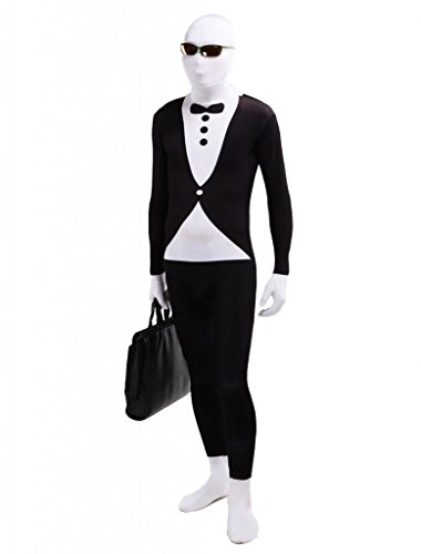 M4U Black and White Tuxedo Lycra Spandex Zentai Morph Suit