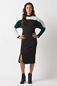 Fashion Show Long Sleeve Color Block Crewneck Dress