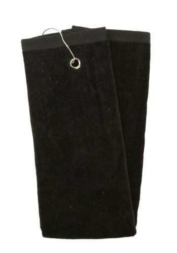 Unisex Solid Color Sports Golf Towel With Corner Grommet And A Hook, Black2101