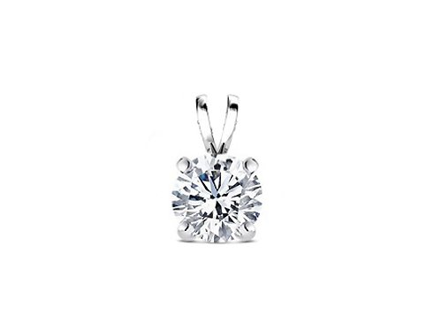 925 Sterling Silver Solitaire 1.00 Carat Round Cubic Zirconia Diamond Pendant. Set On Heavy Quality Casting Setting. Nickel Free