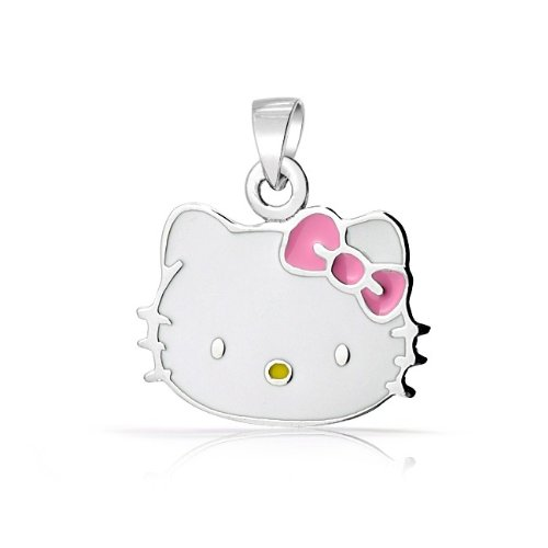 Bling Jewelry Sterling Silver Cool Kitty White Pink Enamel Kids Pendant Necklace