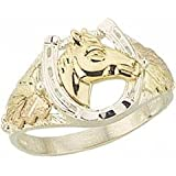 Beautifully Crafted Diamond-cut Sterling-silver Yellow-gold Black Hills Gold Mens Horseshoe Ring