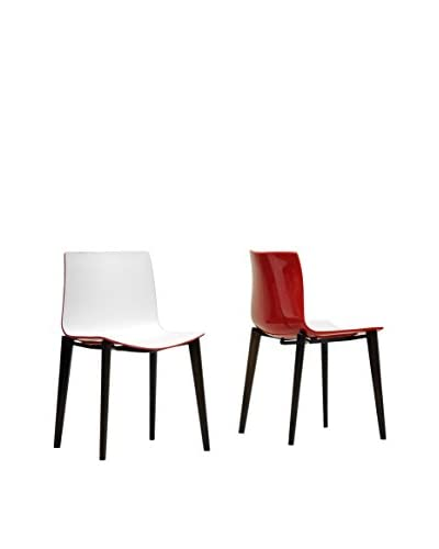 Baxton Studio Set of 2 Soren Dining Chairs, White/Red