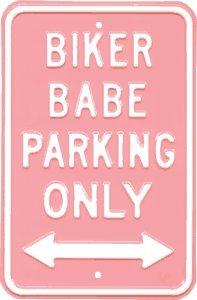 Biker Babe Parking Steel Sign front-457311