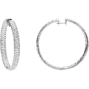 18K White Gold Pair 12 1/4 Ct Tw Diamond Inside-Outside Hoop Earrings
