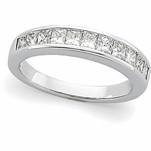 Platinum 1 ct tw Princess-Cut Diamond Anniversary Band: Size 7
