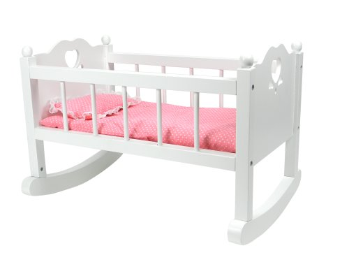 White Baby Doll Cradle Furniture,Open Sides & Heart Cutout Design Plus Doll Bedding Set, Fits American Girl Bitty Baby Dolls and More! Perfect Baby Doll Crib/ Cradle Amazon.com