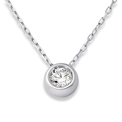 Miore 18ct White Gold 0.25 Carat Solitaire Rubover G-H/VS Certified Diamond Pendant 45cm UJ107PW