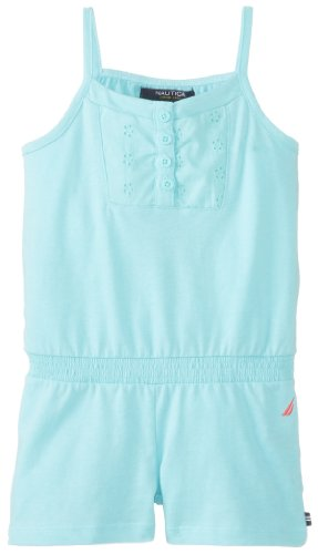 Nautica Little Girls' Jersey Romper With Elastic Bk, Aqua Blue, 3T front-1040356