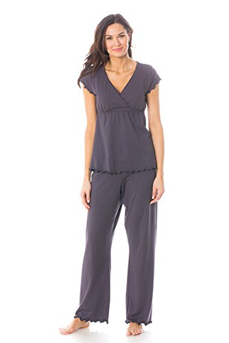 Majamas The Genna Maternity & Nursing Pajama Set, Cinder, Small