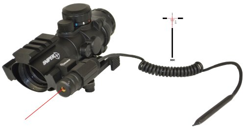 Tactical Scope With Three Rail On Top And Two Side With Red Laser Less Than 5Mv And Eched Bdc Reticle