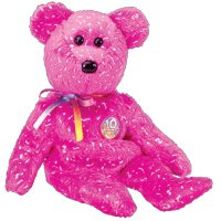 TY Beanie Baby - DECADE the Bear (Hot Pink Version) (BBOM July 2003) - 1