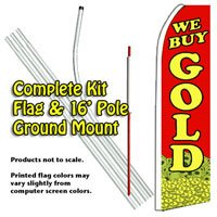 WE BUY GOLD (Coins) Feather Banner Flag Kit (Flag, Pole, & Ground Mt)
