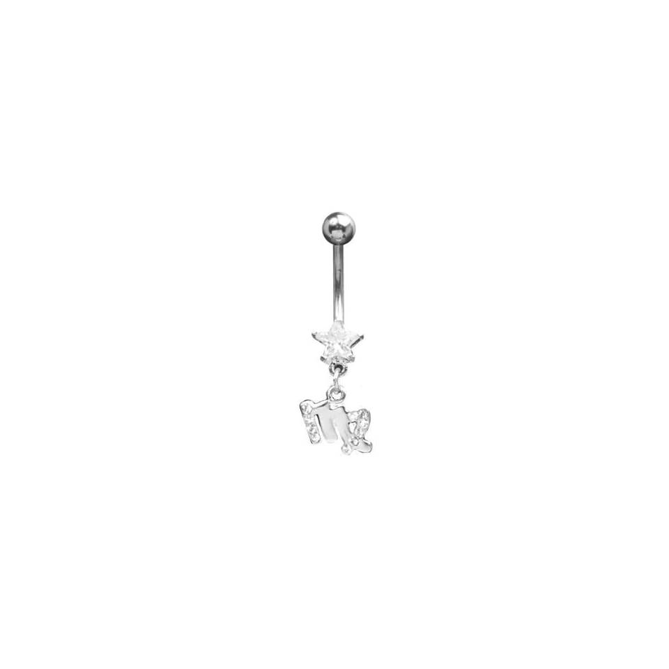 316L Surgical Steel   Clear Virgo Zodiac Sign   Belly Rings   14g 7/16 Length   Sold Individually