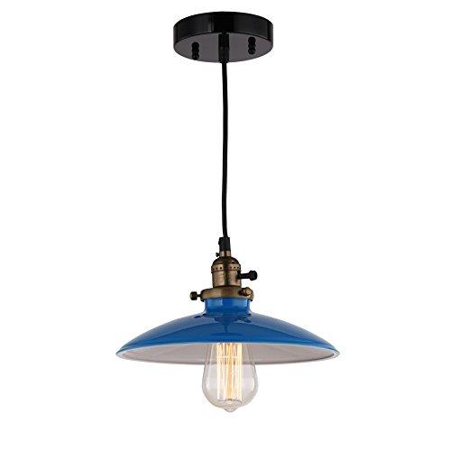 JEMMY HO Metal Pendant Light Dia 10 Inches Mini Vintage Industrial Barn Pendant Lamp (Blue) 1