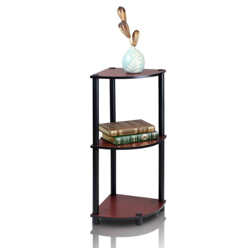 Furinno 12077DC/BK Turn-n-Tube Multipurpose 3-Tier Corner Shelf, Dark Cherry/Black
