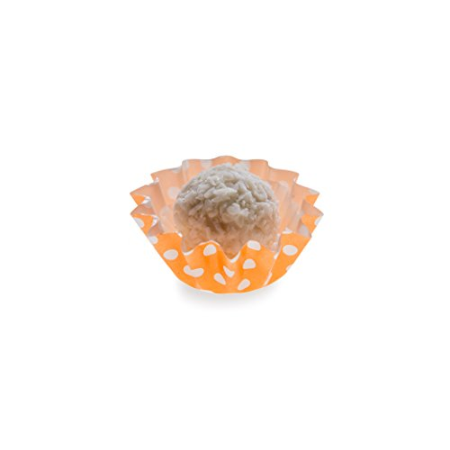 Panificio Flared Paper Paper Baking Cup in Polka-Dotted Hot Orange 1.3 inches 200 count box (Mini Muffin Bakery Boxes compare prices)