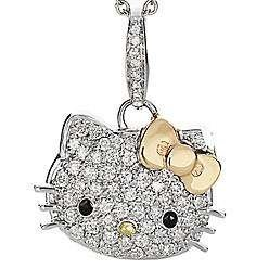 Beautiful Silver Hello Kitty Crystal CZ Necklace with 14k gold Bow, Rhodium Plated, Teen Celebrity Pendant