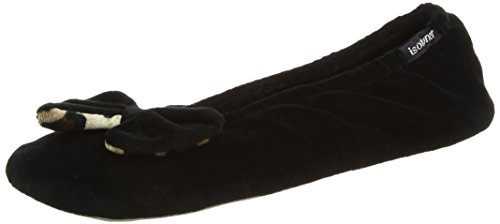 isotoner-velour-big-bow-ballerina-nero-black-black-panther-xl