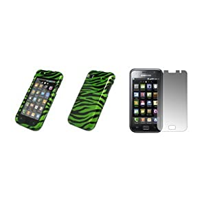 Samsung Vibrant T959 - Premium Neon Green and Black Zebra Stripes Design Snap-On Cover Hard Case Cell Phone Protector + Crystal Clear Screen Protector for Samsung Vibrant T959