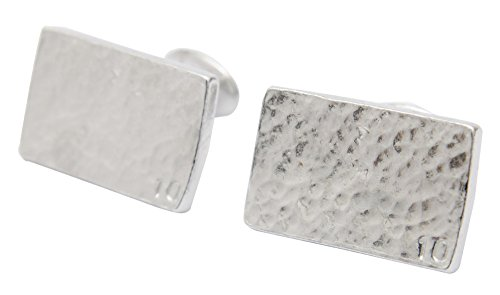 10 Year Anniversary Gift for Him Rectangle Beaten Tin Cufflinks with Small 10.
