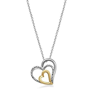 Gold Plated Over Sterling Silver 1/4ct Diamond Heart Pendant Necklace, 18