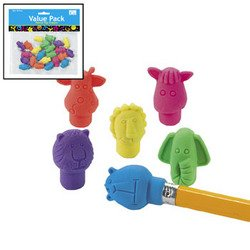 24 ct - Neon Zoo Animal Pencil Top Erasers - 1