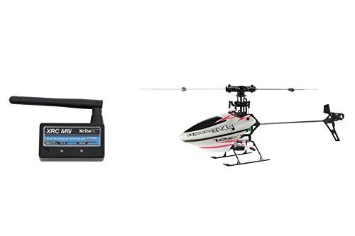 XciteRC-14003120-Ferngesteuerter-RC-Hubschrauber-Flybarless-245-3D-RTF-24-GHz-mit-M6i-6-Kanal-Sendermodul-FHSS-silberrot