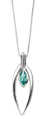 Elements Sterling Silver Ladies' N3082T Marquise Blue Crystal Necklace with Curved Surrounds, Length 41 +5cm
