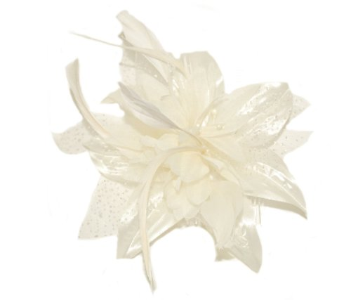 Ivory White Chiffon flower & Feathers fascinator on comb , Ideal Wedding, Ladies day, Race meetings,