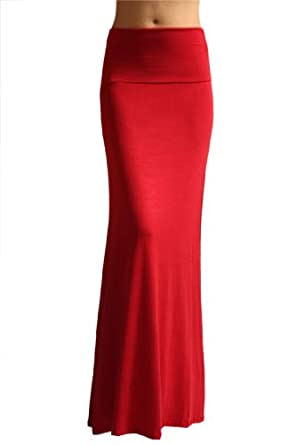 Azules Women'S Rayon Span Maxi Skirt - Red S