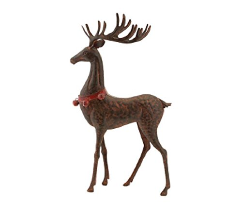 Red and Brown Rustic Hammered Metal Standing Deer Table Top Christmas Decoration by Melrose