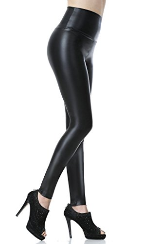 Everbellus Sexy Womens Faux Leather High Waisted Leggings Black Small