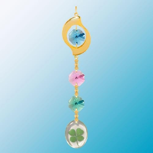 24K Gold Plated Hanging Sun Catcher Or Ornament..... Leaf Icon Hanging Charm With Round Shaped Four Leaf Clover & Green Swarovski Austrian Crystals front-305076