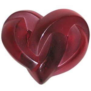 LALIQUE Crystal Red Heart Paperweight