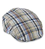 Pure Linen Checked Flat Cap