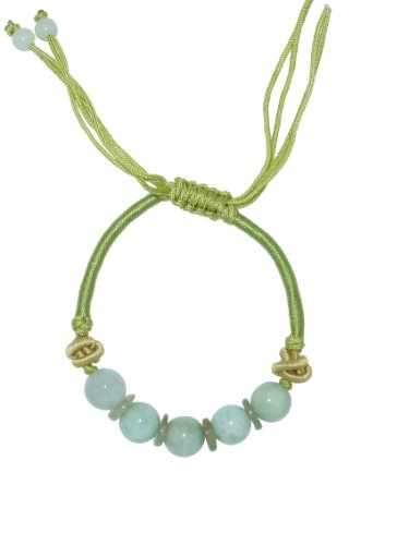 Brilliant Color Jade Beads Alternate with Pi Disc Which Defines Endless Cycle of Life - Jade Bracelet Made with Lime Cord