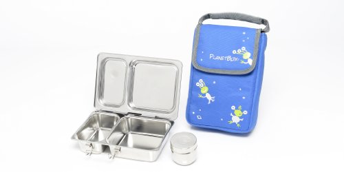 PlanetBox Shuttle Lunchbox - Blue Aliens Carry Bag with Aliens Magnets