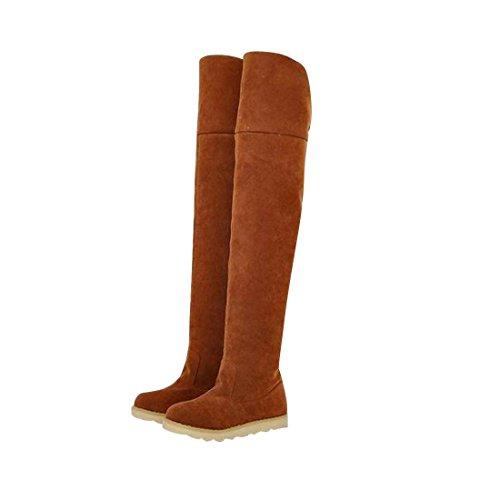 jeansian Moda Sopra il Ginocchio Scamosciato Scarpe Stivali Boots Shoes WSB049 Yellow 35