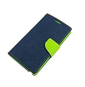 J.N. Premium Combo Of Fancy Diary Wallet Flip Case Back Cover & Tempered Glass for Micromax Canvas-A104-Blue Green