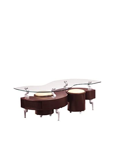 Luxury Home Coffee Table, Mahogany/Cappuccino